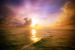 sunset, Waves, Sea, Clouds