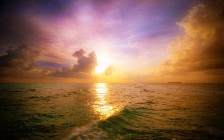 sunset, Waves, Sea, Clouds HD Wallpaper Desktop Background