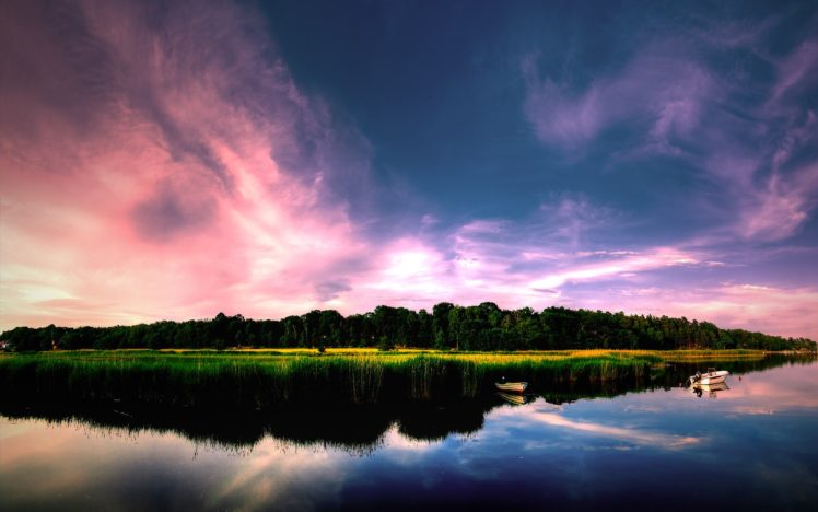 water, Lake, Clouds, Sunset HD Wallpaper Desktop Background