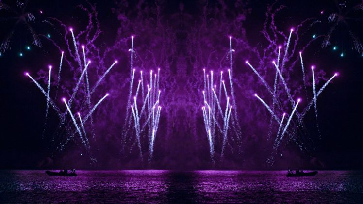 fireworks, Purple, Lightning HD Wallpaper Desktop Background