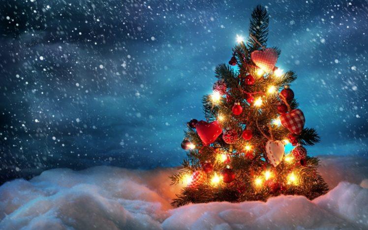 Christmas tree lights snow sky hd wallpapers desktop and