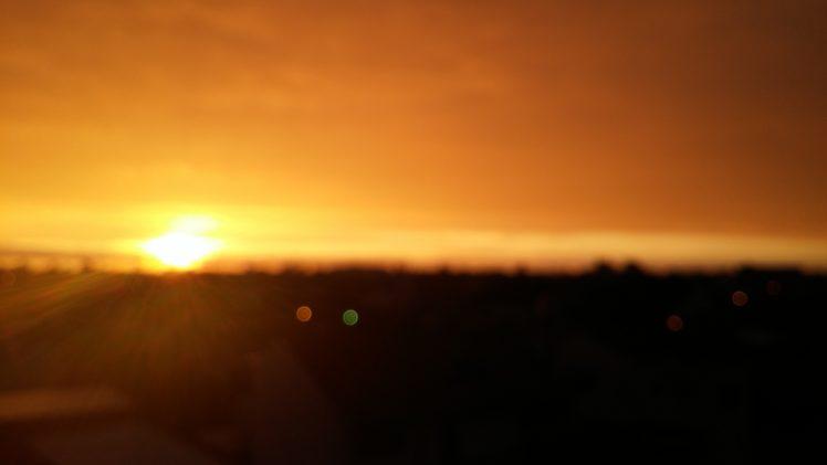 sunset blurred lights sun rays rain hd wallpapers