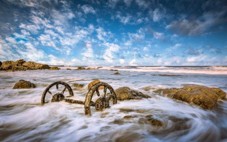 coast, Sea, Metal, Sky, Nature, Clouds HD Wallpaper Desktop Background