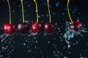 liquid, Water, Cherries, Fruit