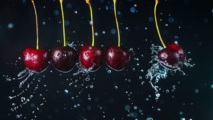 Liquid Water Cherries Fruit HD Wallpaper Desktop Background