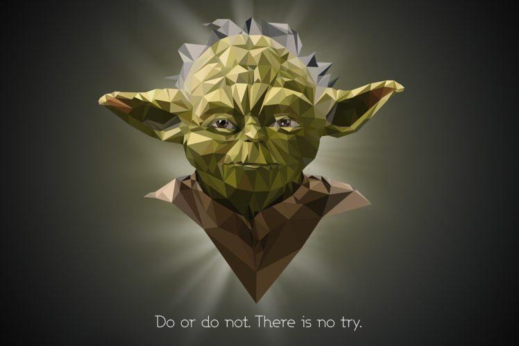 Yoda Star Wars Quote Low Poly HD Wallpaper Desktop Background