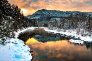 mountains, Lake