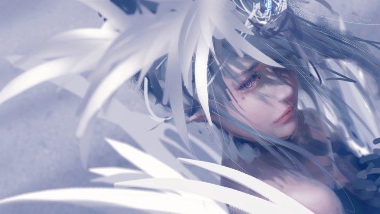WLOP, Blue eyes, Feathers, Crown HD Wallpaper Desktop Background