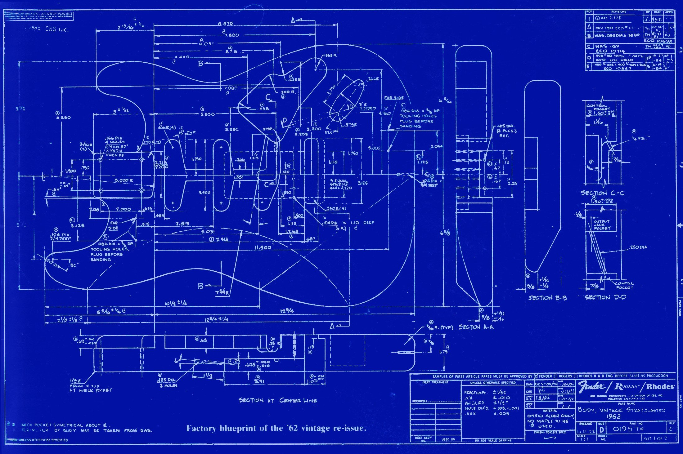 Fender Stratocaster Blueprints Guitar Plan Hd