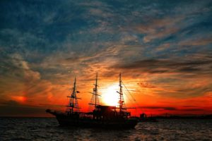 sky, Sun, Sunlight, Clouds, Ship, Sea, Vehicle