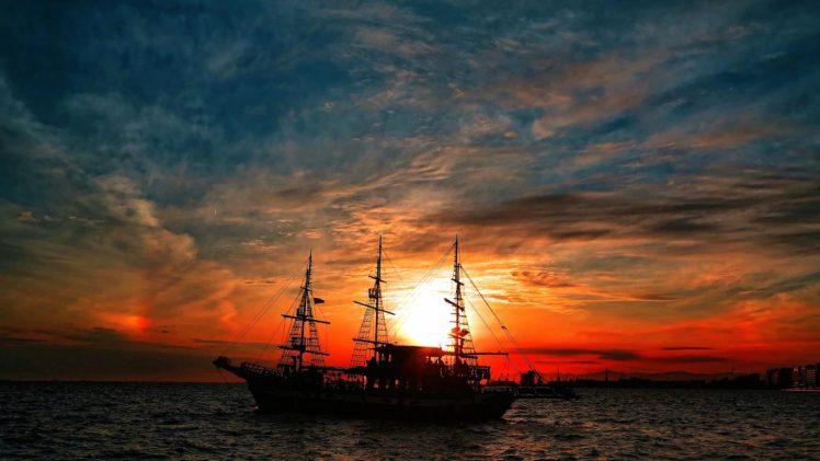 sky, Sun, Sunlight, Clouds, Ship, Sea, Vehicle HD Wallpaper Desktop Background