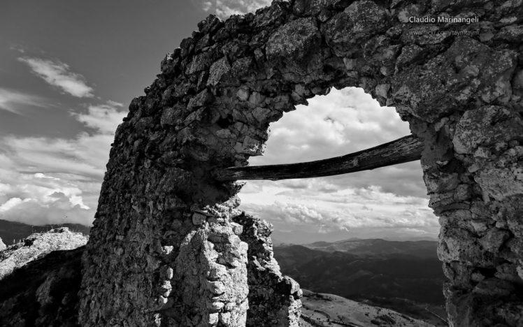 ruin, Landscape, Monochrome HD Wallpaper Desktop Background