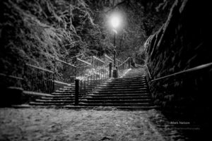 night, Winter, Stairs, City, Monochrome, Lights