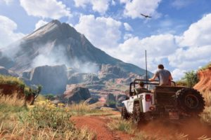 video games, Uncharted 4: A Thief&039;s End, Mountains, Landscape, Dirt road, Travel posters, Car