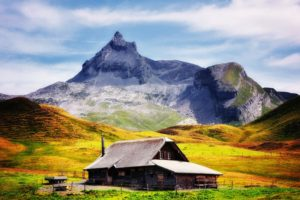 loneliness, Cabin, Landscape, Mountains, Villages