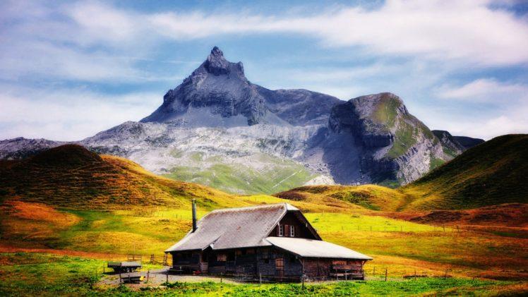 loneliness, Cabin, Landscape, Mountains, Villages HD Wallpaper Desktop Background