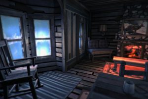 The Long Dark, Cabin, Cold, Fireplace, Chair, Literature, Snow, Video games