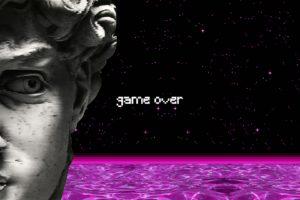 vaporwave, Statue, Water, Spaceship, GAME OVER, Pixel art