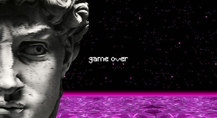 Vaporwave Statue Water Spaceship Game Over Pixel Art Hd Wallpapers Desktop And Mobile Images Photos