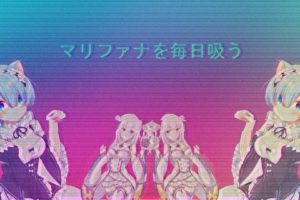 gangsters, Vaporwave, Glitch art, Photo manipulation, Anime girls, Cross, Gun, VHS, Video tape, 3D, Ram (Re:Zero), Rem (Re: Zero), Emilia (Re: Zero)