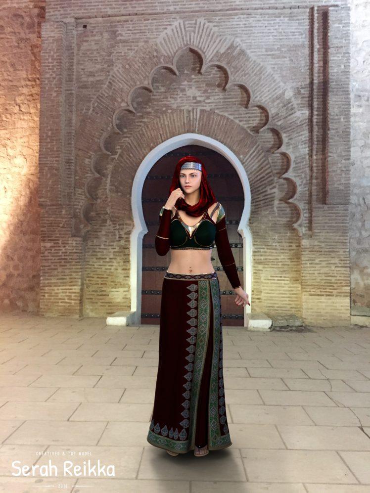 468283 women serah reikka model pierced navel belly fitness model blue eyes traditional clothing jewelry nails red nails night render CGI digital art 3D 3d design