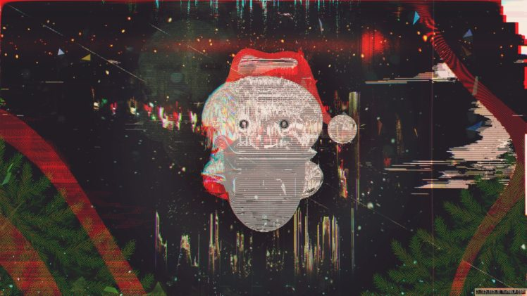 glitch art new year snow santa abstract hd wallpaper desktop background