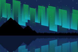 Aurora, Sea, Mountains, Digital art, Vector, Night, Stars, Silhouette