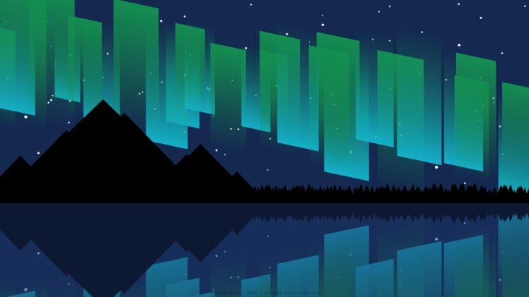 Aurora, Sea, Mountains, Digital art, Vector, Night, Stars, Silhouette HD Wallpaper Desktop Background
