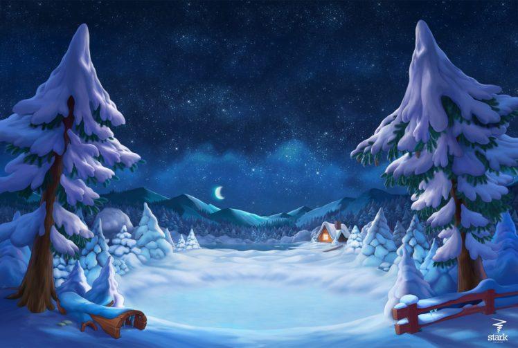 illustration, Snow, Artwork HD Wallpaper Desktop Background