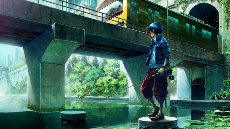 anime, Anime boy, Fishing rod HD Wallpaper Desktop Background