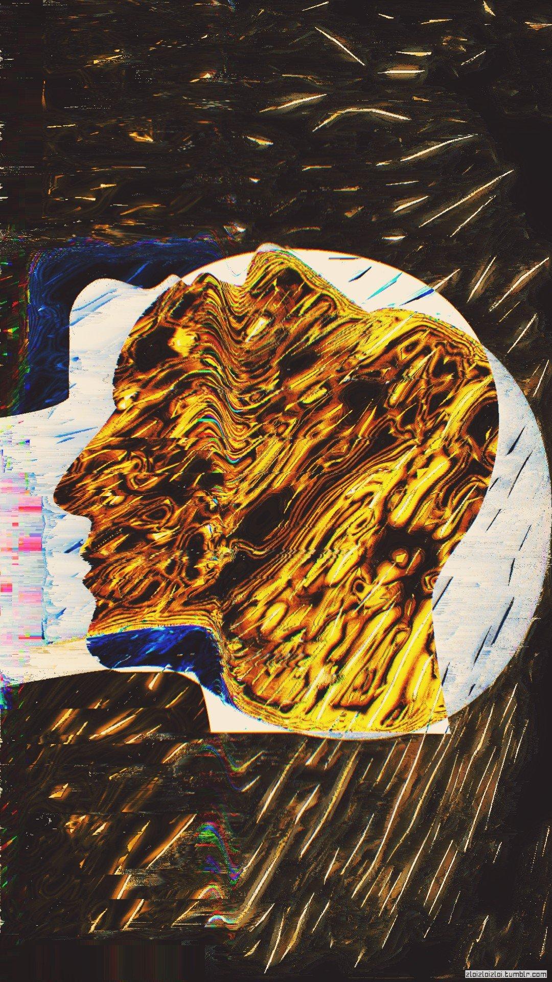 Face, Glitch Art, Gold, Abstract HD Wallpapers / Desktop