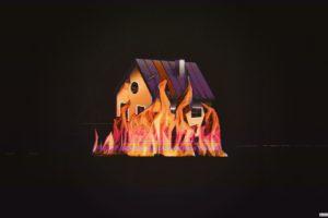 glitch art, Building, Fire, House