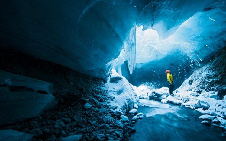 men, Ice, Cave, Nature, Long exposure HD Wallpaper Desktop Background