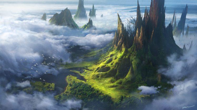 clouds, Landscape, Artwork HD Wallpaper Desktop Background