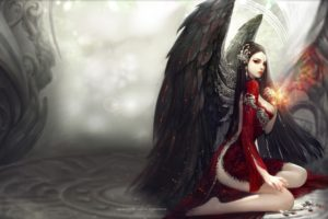 long hair, Big boobs, Barefoot, Kneeling, Red eyes, Aion, Wings, Black hair, Red dress, Hair ornament