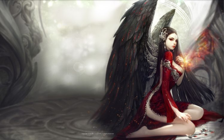 Long Hair Big Boobs Barefoot Kneeling Red Eyes Aion Wings Black Hair Red Dress Hair Ornament Hd Wallpapers Desktop And Mobile Images Photos