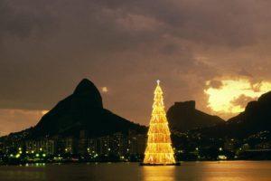Rio de Janeiro, Brazil, Christmas Tree, Bay, Sunset, Landscape, City