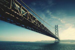 bridge, Suspension bridge, Sea