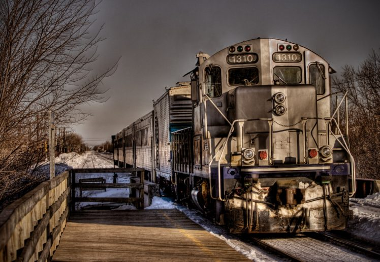 train, HDR, Winter, Montreal, STM, GP9, Commuter, Canada HD Wallpaper Desktop Background