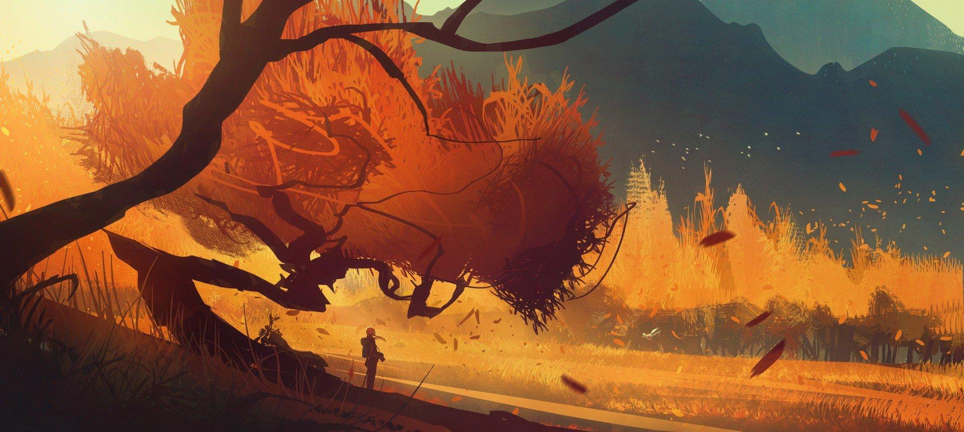 artwork, Fantasy art, Illustration, Sunset Wallpaper