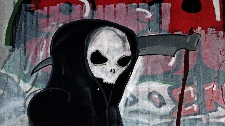Grim Reaper, Artwork, Skull, Graffiti HD Wallpaper Desktop Background
