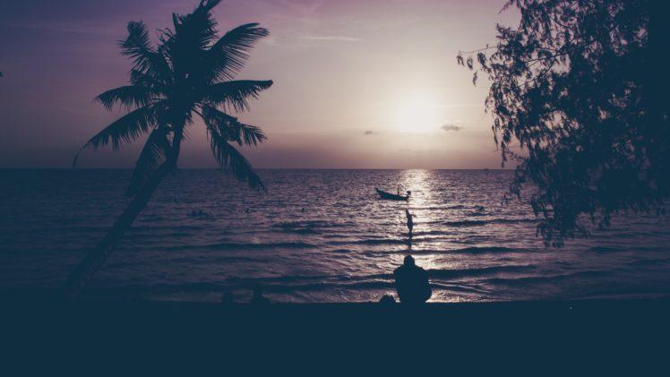 nature, Water, Trees, Sunset, Sun HD Wallpaper Desktop Background