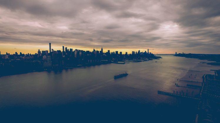 nature, Water, City, Boat, Clouds, Sea, Building, Cityscape, Skyline HD Wallpaper Desktop Background