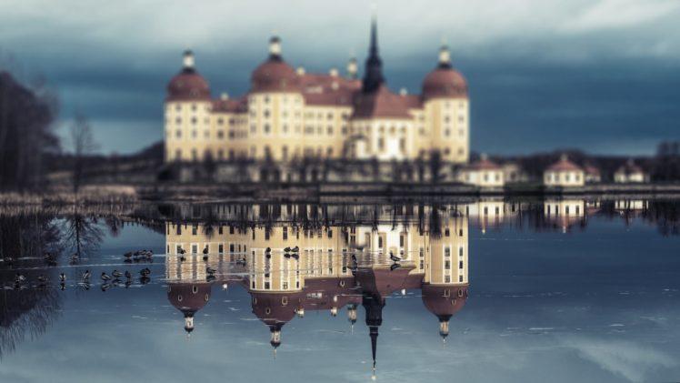 moritzburg castle, Reflection, Water HD Wallpaper Desktop Background