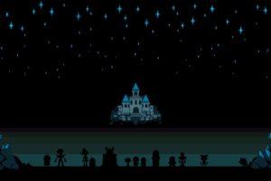 Undertale, Toriel, Sans, Papyrus, Castle, Drawing, Stars, Pixel art
