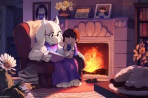 Undertale, Toriel, Artwork, Flowers, Picture frames, Books