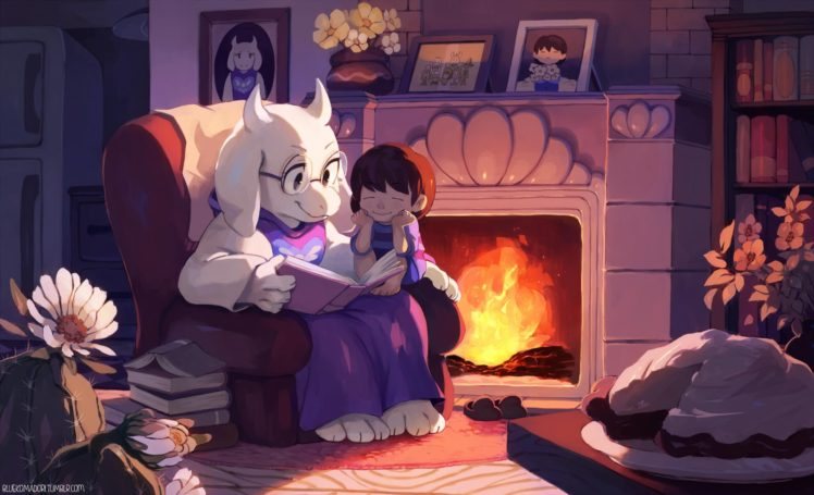 Undertale, Toriel, Artwork, Flowers, Picture frames, Books HD Wallpaper Desktop Background