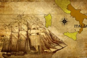 old, Map, Italy, Calabria, Historic, Compass, Vessel, Ship