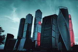 city, Cityscape, Trees, Night, Sky, Building, Architecture, Skyscrapper, Moscow CIty