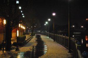 snow, Street light, Lake
